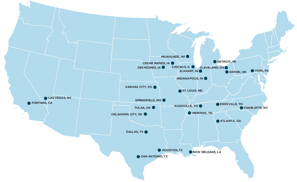 Milestone Trailer Leasing - National Network Map